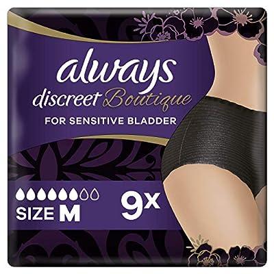 Always Discreet Boutique Underwear Incontinence Pants Plus Medium Black X 9,For Sensitive Bladder, Locks Away Odours, Wetness And Prevent Leaks