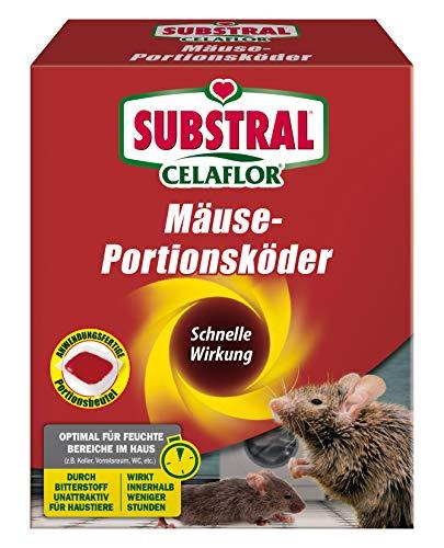 Substral Celaflor Mäuse-Portionsköder, Anwendungsfertiger Köder zur Mäuse-Bekämpfung, 20 x 10 g Portionsbeutel