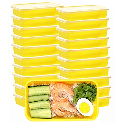 OITUGG Container voor het bereiden van maaltijden met deksel, premium lunchbox, BPA-vrij, herbruikbaar, magnetronbestendig, vaatwasmachinebestendig, verpakking van 20 stuks