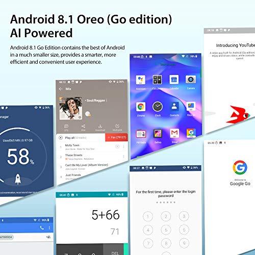 Blackview A60 Smartphone ohne Vertrag Günstig 15,49 cm (6,1 Zoll) HD+ Display 4080mAh Akku, 13MP+5MP Dual Kamera, 16GB ROM, 128 GB erweiterbar Dual SIM Android Einsteiger Handy - Mist Blau - 5