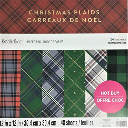 'Christmas Plaids' 12' x 12' Card Stock Paper Pad by Recollections