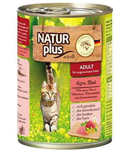 NATUR plus Katzenfutter ADULT mit 69% Rind (getreidefrei) - 6 x 400 g