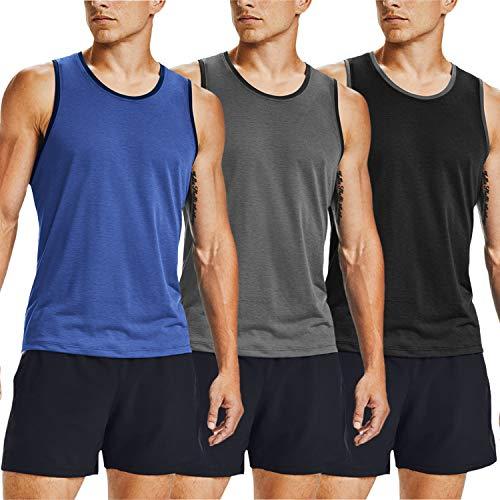 COOFANDY Camiseta de gimnasio sin mangas para hombre, paquete de 3 unidades,...