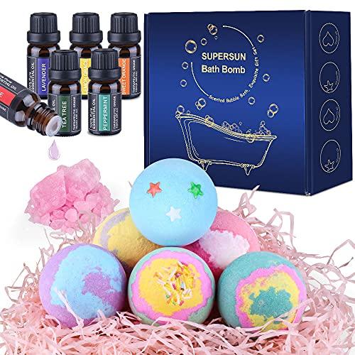 SUPERSUN 6 Bombas de Baño y 6 Aceites Esenciales, Set de Baño Regalos para Mujer Relajantes y Espuma, Sales de Baño, Regalos para Cumpleaños, Día de San Valentín, Día de la Madre