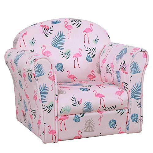 HOMCOM Kindersessel, Kindersofa, Kinderzimmer Sofa, Mini-Sofa-Sessel mit rutschfeste Füße Rosa Flamingomuster, Mädchen, Polyester, 50 x 39 x 44 cm