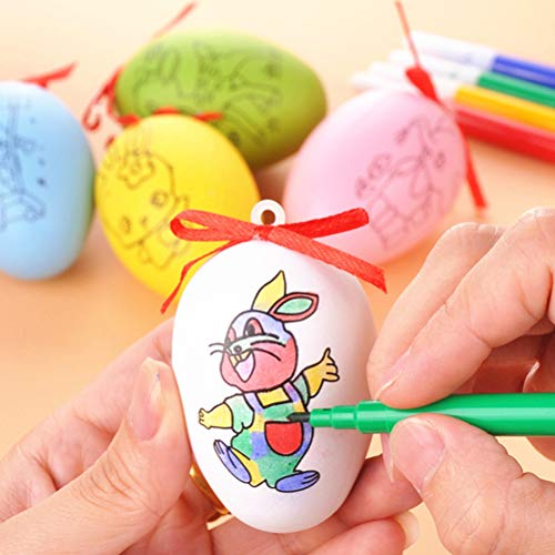 JINQIANSHANGMAO Easter 50 Pcs Plastic White Easter Eggs Decorative Eggs With Hanging Rope Easter DIY Painting Eggs With 8 Color Pens