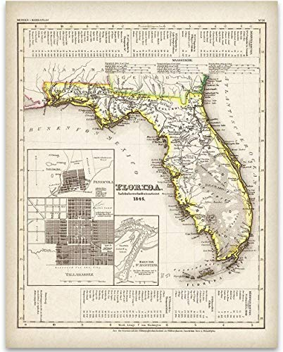 1845 Map of Florida Art Print - 11x14 Unframed Art Print - Great Vintage Home Decor Under $15