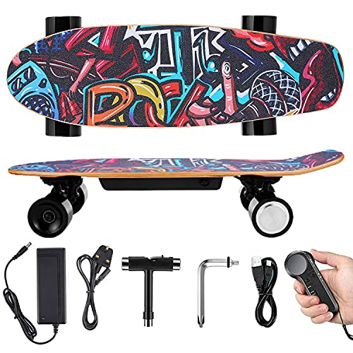 Electric Skateboard Complete with Wireless Remote Control 350W Motor, 7 Lays Maple Longboard, Three-Speed Adjustable, Skate Boards Great for Teenager and Adult