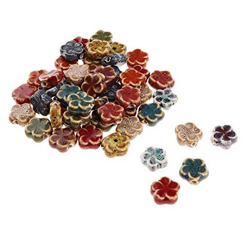 non-brand Charms in Loos Allentati Perline in Ceramica Circa 15 x 15 x 3 mm - Forma di Fiore 50pcs