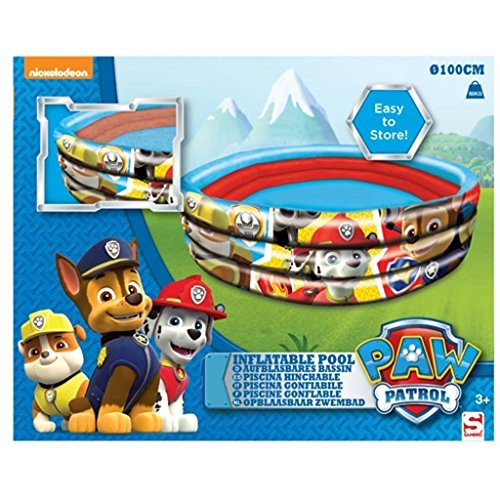 Sambro pwp-7076, Paw Patrol, Piscina Inflable de Tres Anillos, 100 x 30 cm Paw Patrol 3 Anillo Piscina Inflable.