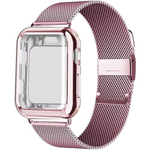 YGGFA Caso+correa para Apple Watch Band 44 mm 40mm 42mm 38mm 42 40 acero inoxidable para iWatch pulsera para Apple Watch Series 5 4 3 44mm Correa de reloj