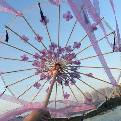 XKMY Paraguas hecho a mano de papel de aceite de seda china, paraguas de anime para mujer, fotografía de fotografía con borlas antiguas, paraguas transparente (color rosa HUAY)