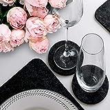 Luana Rose Platzsets aus Filz 12er Set in Anthrazit - Tischset abwischbar - 44x32 cm Filzuntersetzer - Hochwertige Platzdeckchen abwaschbar in Grau - Tischuntersetzer Platzset + Glas Untersetzer-Set - 9