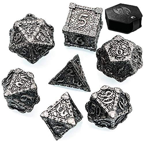World of Dice Metal-Würfelset Ornament - Pen & Paper Metallwürfel, mit Etui, W4, W6, W8, W10, W10.0, W12, W20, Rollenspiel-Würfel