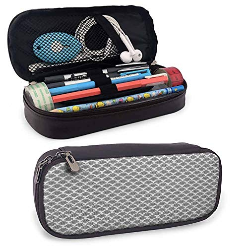 Black and White Pencil Bag Pen Case Monochrome Arrangement of Abstract Oriental Damask Motifs Swirled Lines Smooth Zippers, Waterproof 8'x3.5'x1.5' Black White