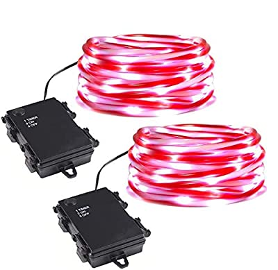 ZHONGXIN Rope Lights Battery Powered, 5M Red&White Candy Cane Tube with 67 Cool White LEDs Fairy Lights, Waterproof with Timer for DIY Wedding, Party, Garden, Corridor, Christmas Decorations-2Pack