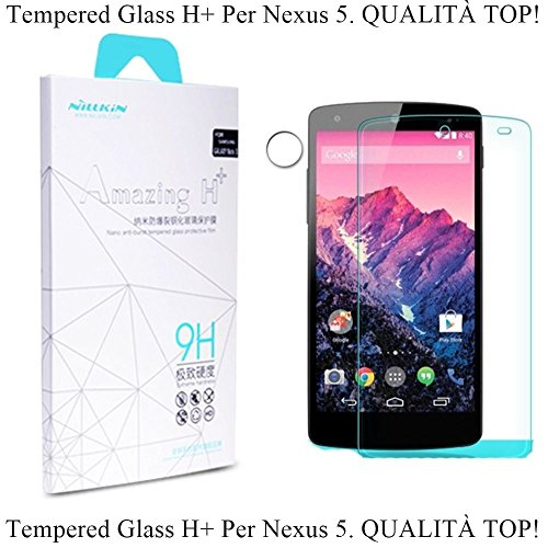 Nilkin Nikay 9H Hardness Tempered Glass Front Screen Protectors for Google Nexus 5 - Retail Packaging - Clear