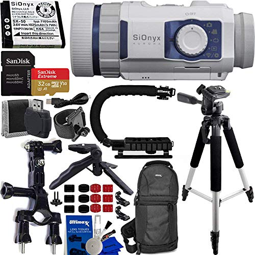 SiOnyx Aurora Sport Water-Resistant IR Night Vision Camera with Advanced Action Bundle: Includes - SanDisk Extreme 32GB microSDHC Memory Card with Adapter, Scorpion Action Grip, and Much More