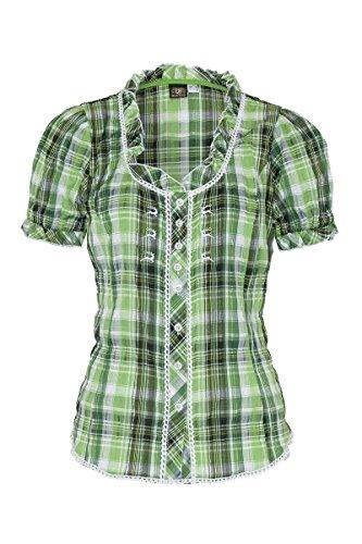 OS Trachten Damen Trachtenbluse Kurzarm grün karo Stretch 002618