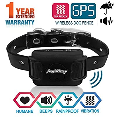 AngelaKerry Wireless Dog Fence System with GPS, NO Electric Shock, Outdoor Pet Containment System Rechargeable Waterproof Vibration Collar 850YD Remote for 15lbs-120lbs Dogs (Black)