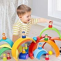 Lewo 12 Pezzi Giocattoli per Bambini in Legno per Ragazzi Ragazze Arcobaleno Bambole Legno Fingere di Giocare Figure di Persone per i più Piccoli Giocattoli Educativi di Apprendimento Prescolare #5