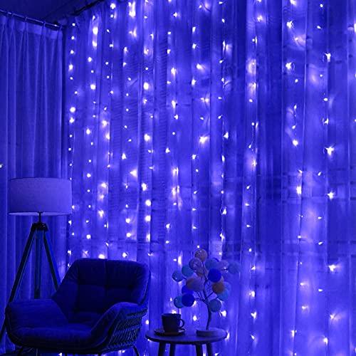 CFSYS Cortina de luz alimentada por la Red 3M x 3M 300LED Control Remoto Habitación Ventana Cortina Luz Enchufe Luces de Cadena de Hadas con 8 Modos para decoración de Pascua de Dormitorio Interior