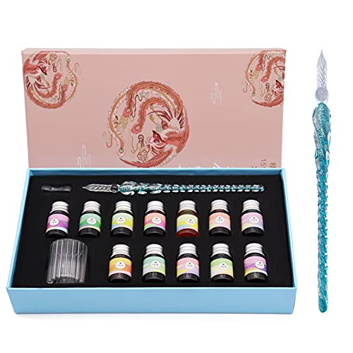 Crystal Glass Dip Pen Ink Set-Dip Pen with 12 Color Ink bottles for Art, Writing, Drawing,...