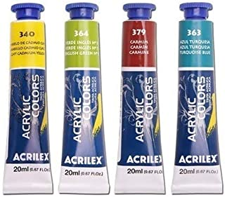 Tinta Acrílica P/Tela Acrilex 20ml C/18 Cores A Sua Escolha