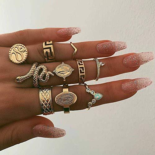 Deniferymakeup Trendy 10 stks vintage gouden strass ring gouden slang gesneden Boeddha standbeeld Knuckle Ring Set cadeau voor haar voor meisjes tieners vrouwen
