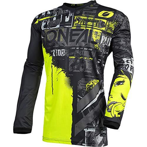 O'NEAL | Motocross-Jersey Langarm | Kinder | MX Enduro | Gepolsterter Ellbogenschutz, V-Ausschnitt, atmungsaktiv | Element Youth Jersey Ride | Schwarz Neongelb | Größe XS