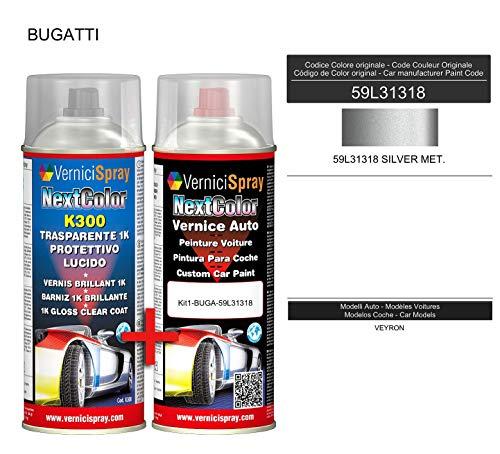 Autoausbesserungsset – Autolack in Metallic/Perlenfarbe 59L31318 Silber Meter. VerniciSpray und Glanzlack, 400 ml