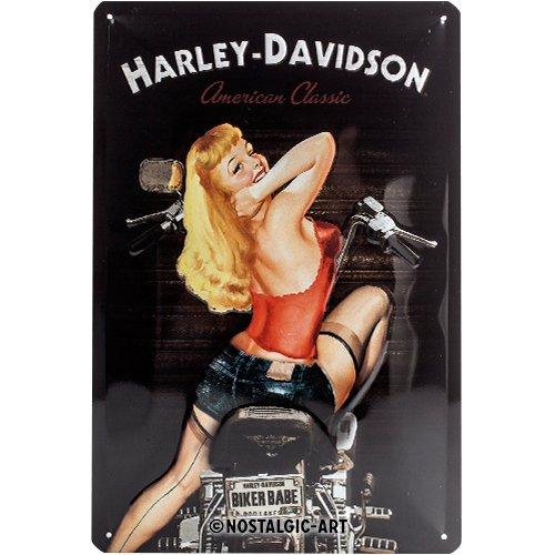 Nostalgic-Art Harley-Davidson – Biker Babe – Geschenk-Idee für Motorrad-Fans, Retro Blechschild, aus Metall, Vintage-Design zur Dekoration, 20 x 30 cm