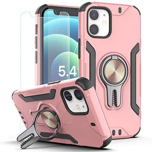 KaiMai iPhone 12 Mini Case with HD Screen Protector,Ring Magnetic Holder Kickstand Dual Layers of Shockproof Phone Case for iPhone 12 Mini 5.4 inch 2020-LJ-Rose Gold