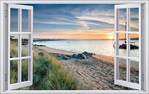 Strand Beach Sonnenuntergang Wandtattoo Wandsticker Wandaufkleber F0830 Größe 70 cm x 110 cm