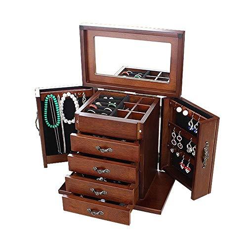 AINIYF Mesilla de noche joyas caja de almacenamiento, armario de almacenamiento caja de joyería caja de colección de joyería collar pulsera de madera maciza retro - con espejo 5 capas 4 cajones (marró