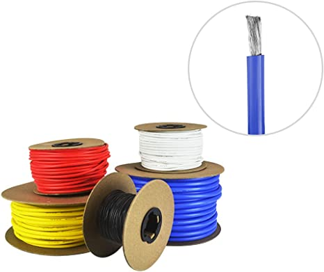 8AWG Silicone Gauge Copper Wire Black and Red Each 8 Feet Ultra Flexible 8 Gauge Tinned Conductor 16feet Electric Wire Cable