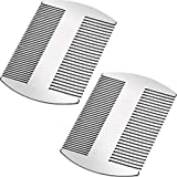 2 Pieces Silver Wallet Comb Stainless Steel Credit Comb Dual Action Stainless Steel Comb Hair Styling Cutting Hair Comb