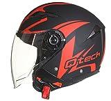 Qtech Casque de Moto Face Ouverte - Pare Soleil Interne - Jet Helm - Double Visière Scooter Rouge -...