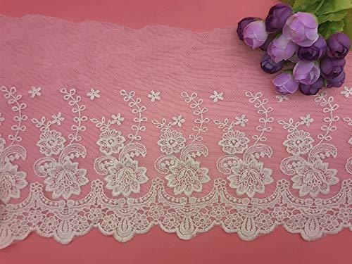 Ajuste de encaje de bordado inelástico con Patrón de Rose en 21 cm de ancho Cortina, Manteles, Funda que se puede quitar, Ropa de bricolaje nupcial/Accesorios (2 yardas en un paquete) (ivory)