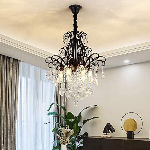 Hanglamp met hanglamp, hanglamp, hanglamp, plafondlamp, goudkleurig, zwart, kristal, kroonluchter, moderne woonkamer, slaapkamer, balkon, hal, bar, restaurant, plafondlamp, 50x50x60cm (kleur: zwart/goud)