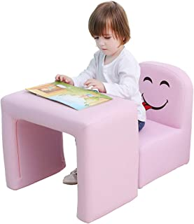 Emall Life Multifunctional 2in1 Children's Armchair Kids Wooden Frame Chair and Table Set CPSC Certified Boy's and Girl's Armrest Chair Easy to Clean (Pink)