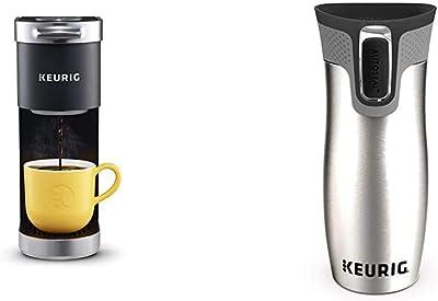 Keurig K-Mini Plus Coffee Maker, Black & Contigo Autoseal Coffee Travel Mug, West Loop Vacuum Insulated with Easy-Clean Lid, 14 Oz, Silver