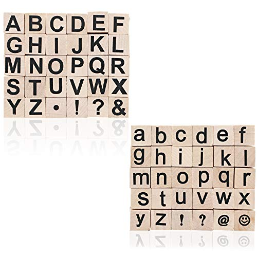 Juvale Alphabet Wood Rubber Stamps, Upper & Lowercase Letters with Symbols, 60 Pieces