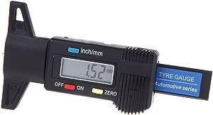 Digital LCD Tyre Tread Depth Gauge Brake Electronic Micrometer Measure 0-25 4mm Metric Inch Black