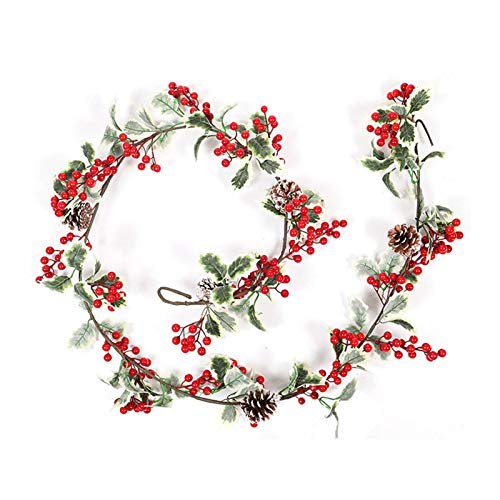 Christmas Garland, 6 Ft Long Pendant Wreath Winter Red Berries Holiday Decoration Pine Cones, Evergreen Pine Needle, Unlit Berry Garlands Xmas Decor, for Kitchen, Bar, Fireplace Indoor Outdoor Greener