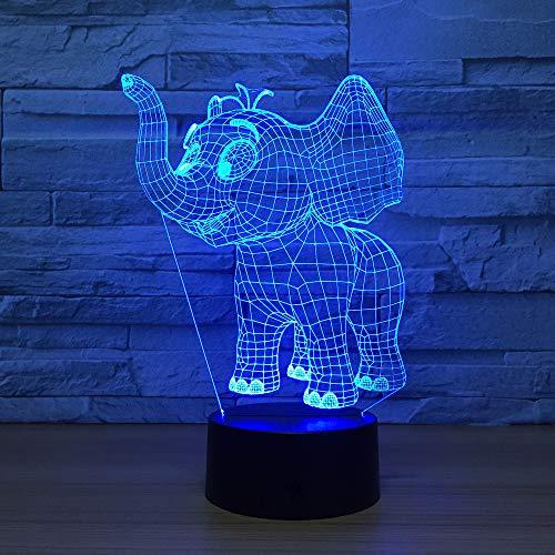 BFMBCHDJ Glückliche Elefanten 7 Farblampe 3D Visuelle Led Nachtlichter Für Kinder Touch Usb Tisch Lampara Lampe Baby Schlafen Nachtlicht