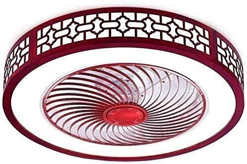 MAMINGBO Ventilador de techo con luz 22 pulgadas Ventilador de techo rojo con control remoto ligero Modos de iluminación de 3 colores LED Lámpara de techo de madera maciza Hojas de acrílico invisible
