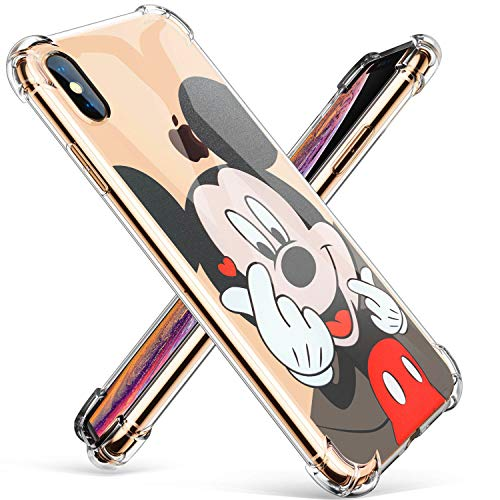 """Logee TPU Mickey Mouse Cute Cartoon Clear Case for iPhone X/iPhone Xs 5.8"""",Fun Kawaii Animal Soft Protective Shockproof Cover,Ultra-Thin Funny Character Cases for Kids Teens Girls Boys (iPhoneXs)"""