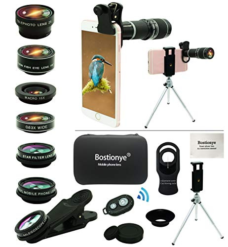 Cell Phone Camera Lens Kit,11 in 1 Universal 20x Zoom Telephoto Lens,0.63Wide Angle+15X...