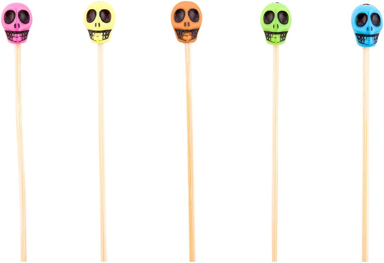 Skull Bamboo Skewer - 4-inch Natural Bamboo color Skewers  Perfect for Serving Appetizers and Cocktail Garnishes - Wood and Acrylic Skull - 1000-CT - Biodegradable and Eco-Friendly - Restaurantware